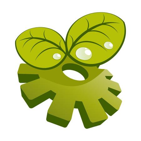 water drops on leaf: modern ecology logo Illustration