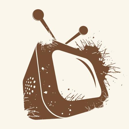 grunge tv logo Vector