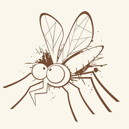 grunge cartoon mosquito Vector