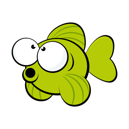 swims: funny cartoon fish Illustration