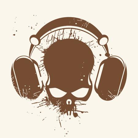 headset symbol: vintage headphone skull