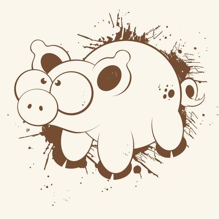 pig tails: vintage pig cartoon
