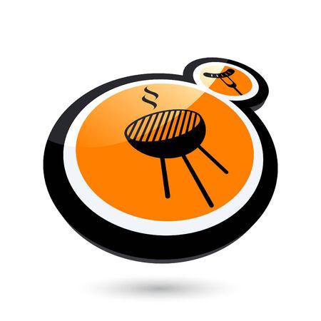 현대 바베큐 기호 로고 일러스트