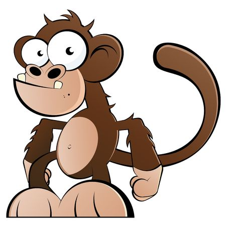 funny cartoon monkey Stock Photo - 6891898
