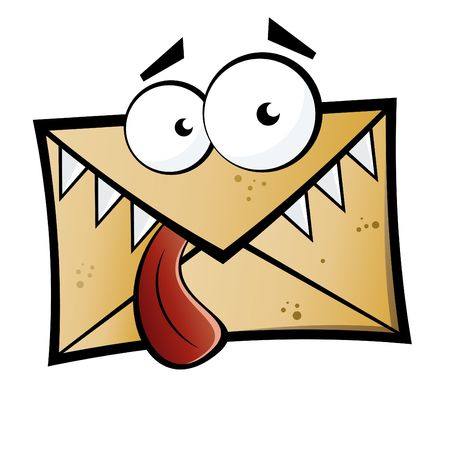 spamming: Funny cartoon letter monster