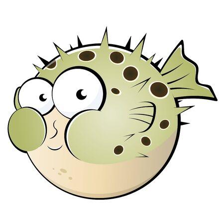 blowfish: funny blowfish cartoon Illustration