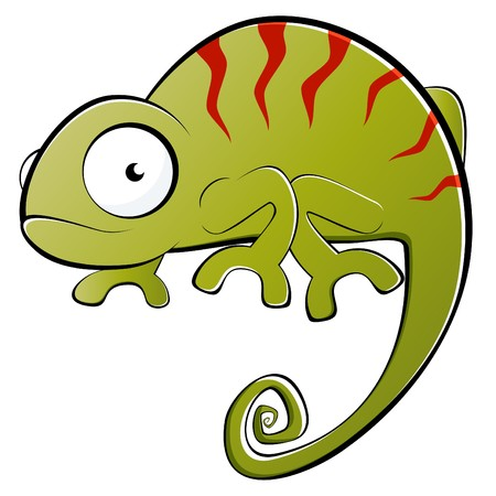 funny cartoon chameleon Vector