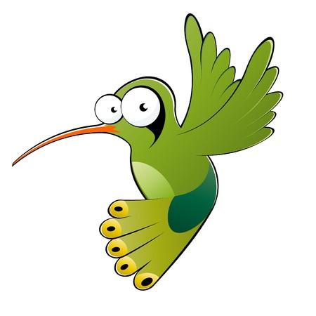 funny cartoon hummingbird Illustration