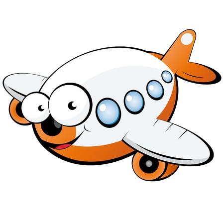 avion caricatura: plano de divertidos dibujos animados  Vectores