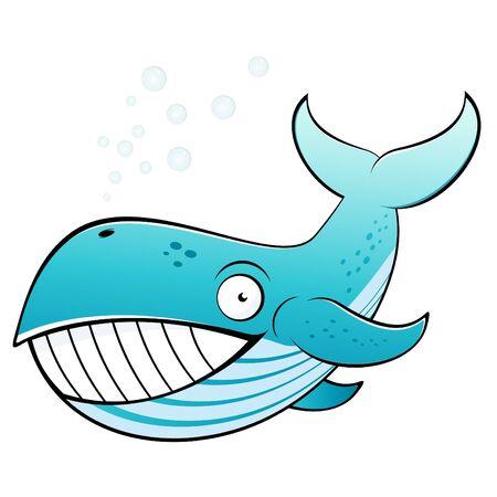 ballena azul: ballena de divertidos dibujos animados