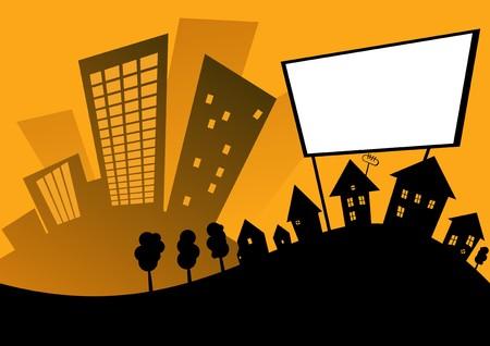 yellow hills: cartoon retro city Illustration