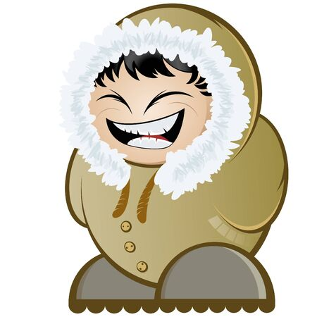 anorak: funny cartoon eskimo Illustration