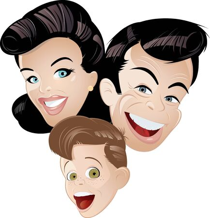happy people: retro cartoon family
