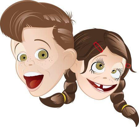 cartoon Retro enfants Vecteurs