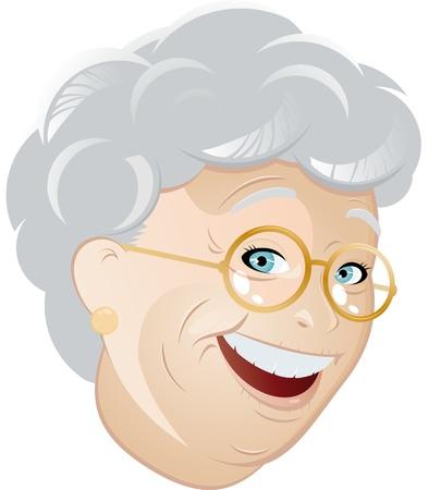 abuela: Caricatura de abuela feliz