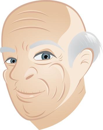 anciano: Caricatura de abuelo feliz