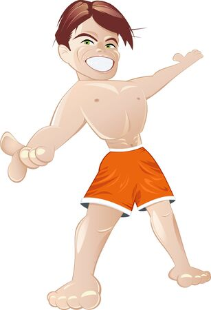 athletic body: athletic cartoon boy Illustration