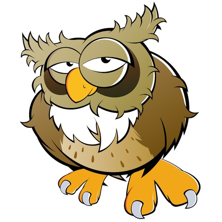 tired cartoon: funny cartoon owl