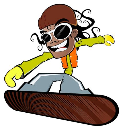 snowboarder jumping: funny cartoon snowboarder Illustration