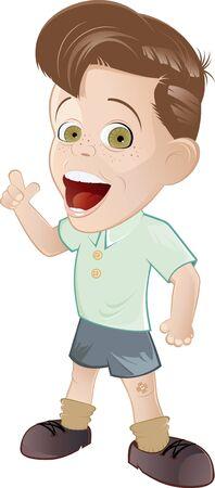niño de dibujos animados retro Ilustración de vector