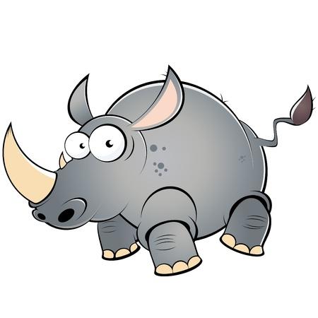 grappige cartoon rhino Stock Illustratie