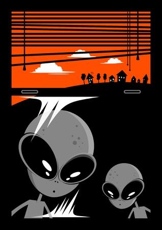 alien visitors cartoon background