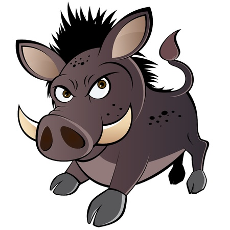 funny boar cartoon Vector
