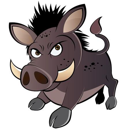wild  boar: funny boar cartoon Illustration
