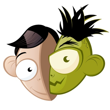 vicious: funny good and evil cartoon head
