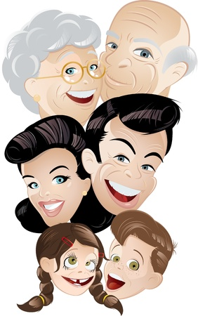 young generation: family generation cartoon Illustration