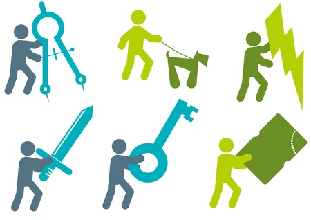 man in action sign collection Vector
