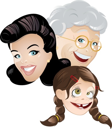 grandma mommy and daughter cartoon Stock Vector - 8842381