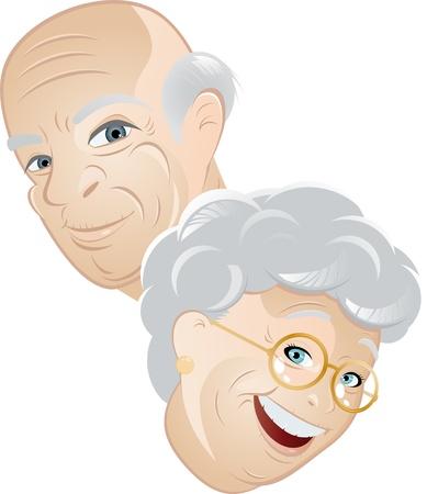 pensionado: caricatura par Senior  Vectores