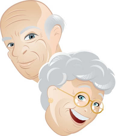 pensioner: senior couple cartoon  Illustration