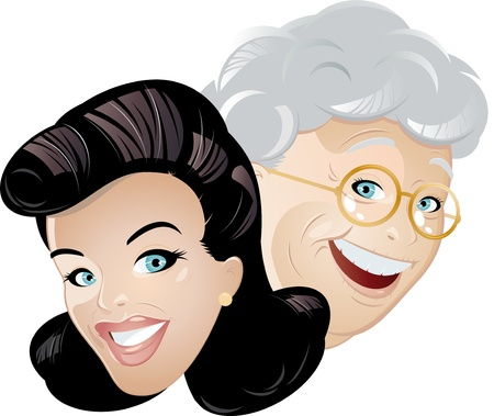 old people smiling: mother and daughter cartoon