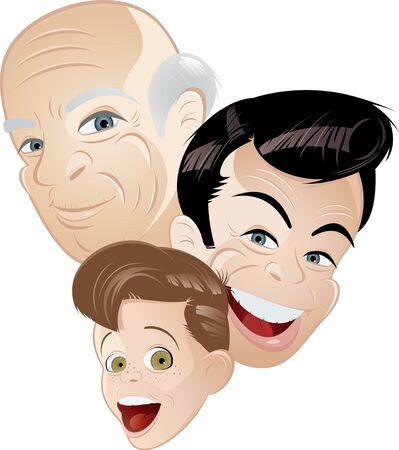 old people smiling: grandpa father and son cartoon