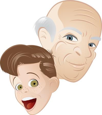 grandpa and grandson cartoon Stock Vector - 8842366