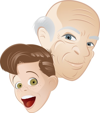 young to old: grandpa and grandson cartoon