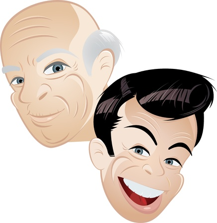 mature old generation: father and son cartoon  Illustration