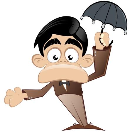 funny cartoon man with umbrella  Illustration