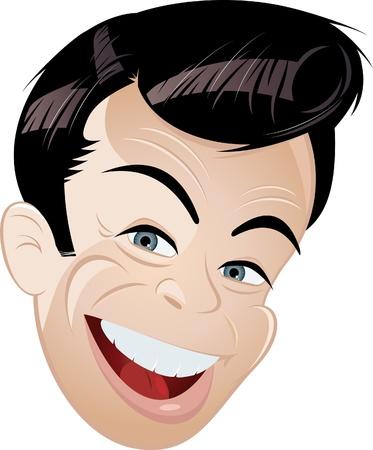 retro cartoon man head  Иллюстрация