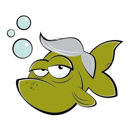 grappige senior cartoon goldfish Vector Illustratie