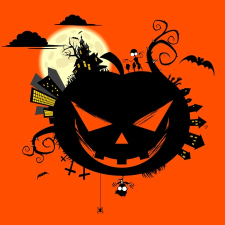 creepy halloween world Vector