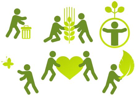 garbage collection: modern ecology man sign collection  Illustration