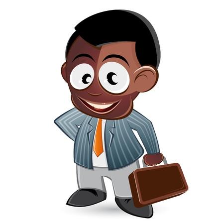 black man: funny cartoon business man