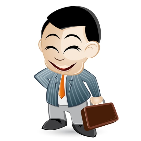 asian business: funny cartoon business man