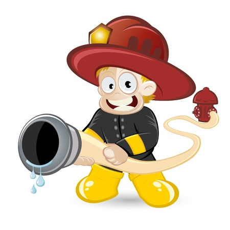 water hoses: funny cartoon fireman Illustration