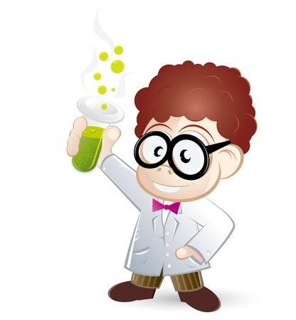 funny cartoon scientist Stock Vector - 10372173