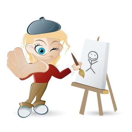 összpontosított: vicces rajzfilm művész Illusztráció