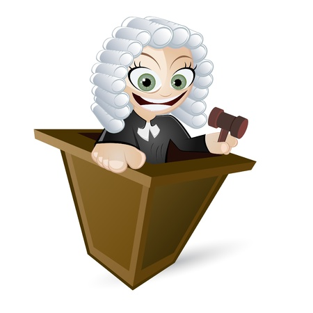 periwig: funny cartoon judge Illustration